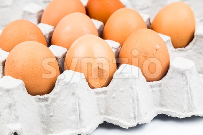 One egg with cracked egg shell with other eggs on tray. Stock Photo