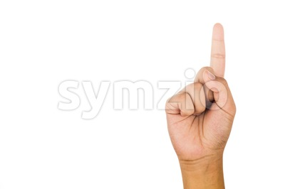 Hand gesturing number one against white background. Stock Photo