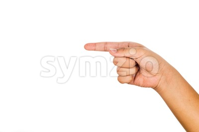 Hand pointing direction against white background. Stock Photo