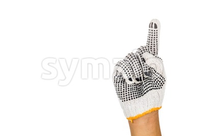 Hand in industrial glove gesturing number one against white background Stock Photo