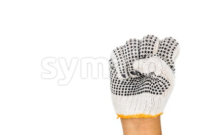 Hand in industrial glove tighten fist against white background. Stock Photo