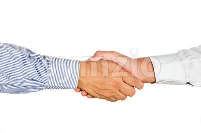Firm hand shake by two person in formal wear. Stock Photo