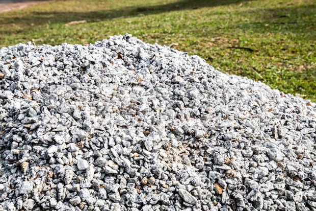 Pile of gravel stones for use as construction material