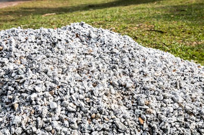 Pile of gravel stones for use as construction material Stock Photo