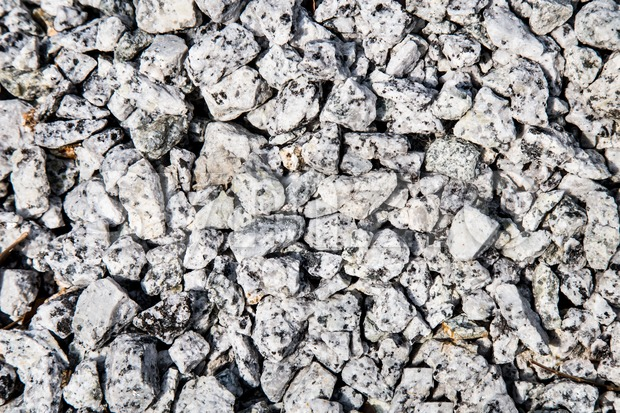 Closed up on small gravel stones used as construction material Stock Photo