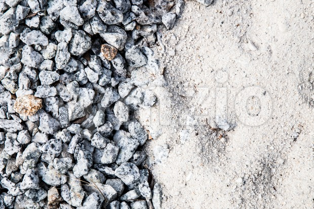 Pile of white sand and small gravel stone used as construction material Stock Photo