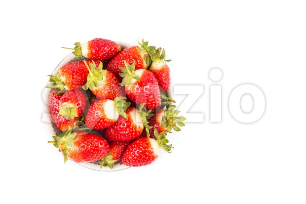 Plateful of freshly harvested organic juicy strawberries with white background