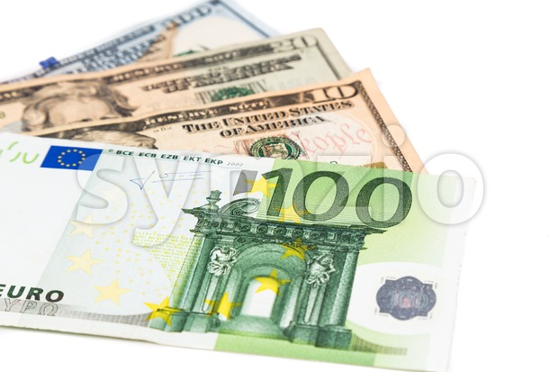 Close up of Euro currency note against US Dollar.