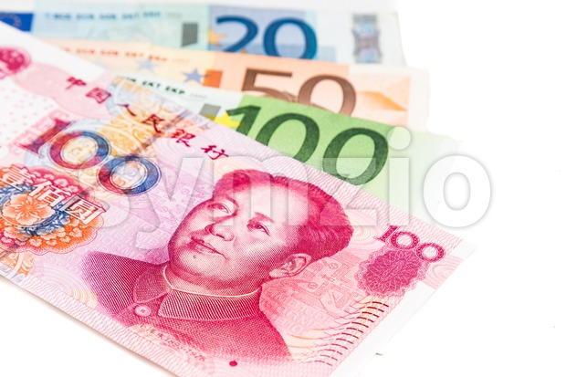 Close up of China Yuan Renminbi note against EURO.