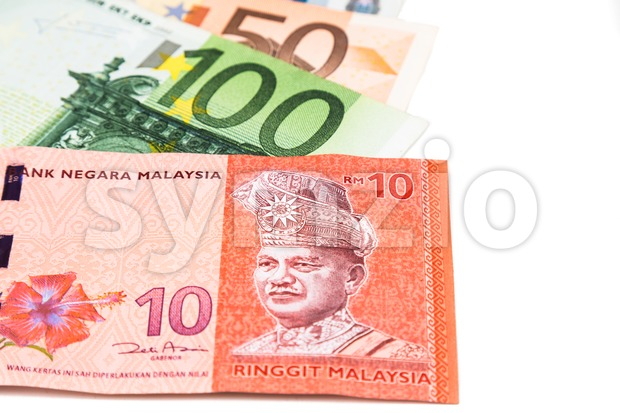 Close up of Malaysia Ringgit currency note against EURO Stock Photo