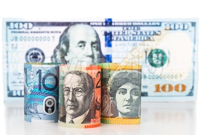 Close up of Australian Dollar currency note against US Dollar Stock Photo