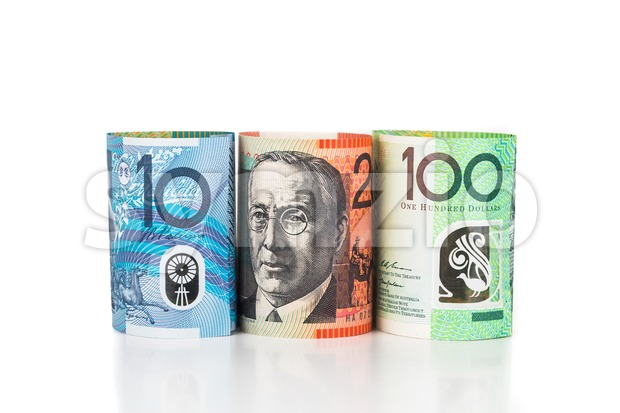 Close up of rolled up Australian Dollar currency note Stock Photo
