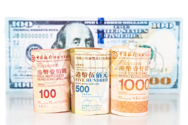 Close up of Hong Kong currency note against US Dollar Stock Photo