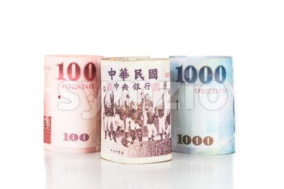 Close up of rolled up New Taiwan Dollar currency note Stock Photo