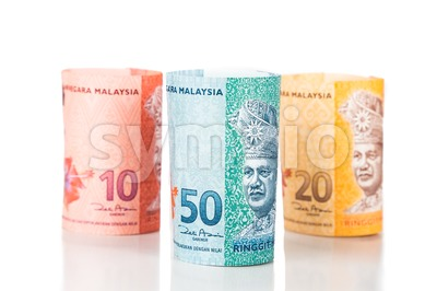 Close up of rolled up Malaysia Ringgit currency note Stock Photo