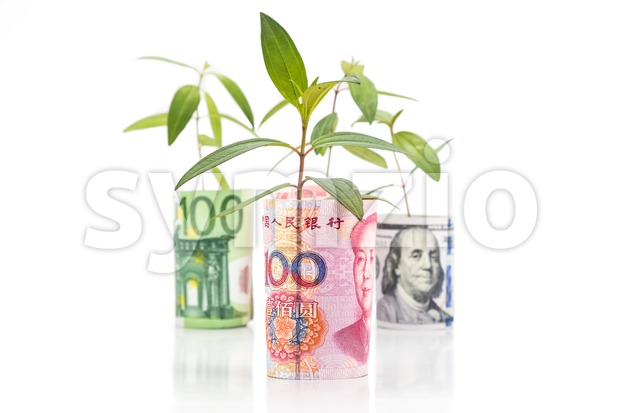 Concept of green plant grow on currency with Renminbi in foreground Stock Photo