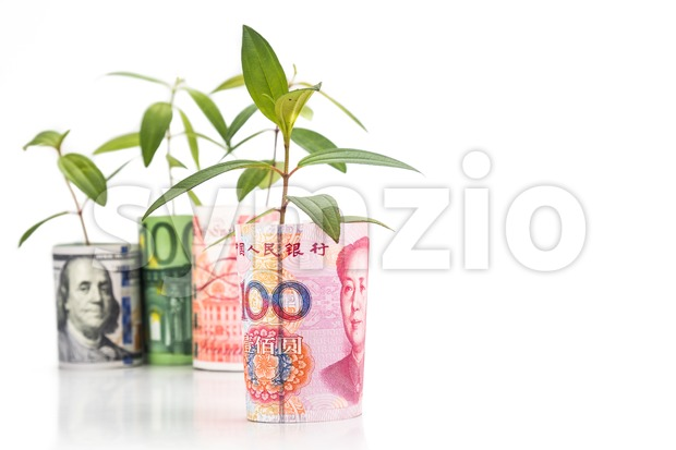 Concept of green plant grow on currency with China Yuan Renminbi in foreground Stock Photo