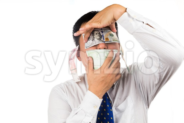 Concept of see, speak, hear no evil with money Stock Photo