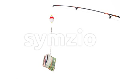 Concept of fishing line with money currency as bait or incentive Stock Photo