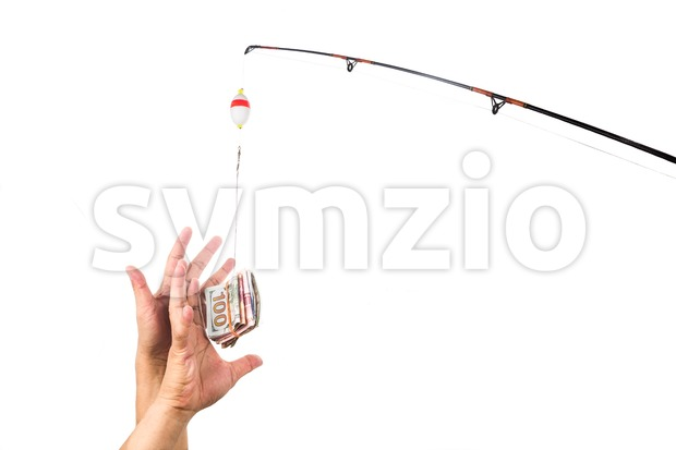 Concept of hands reaching for money casted as bait on fishing line Stock Photo