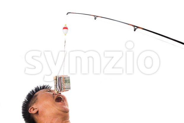 Concept of people reaching for money bait casted on fishing line.