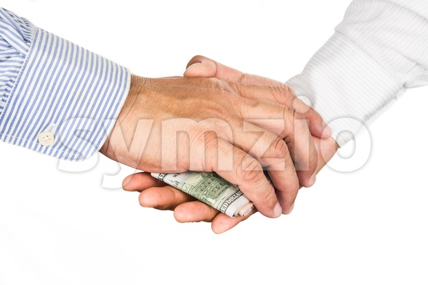 Hand shake deal with corrupt cash exchange