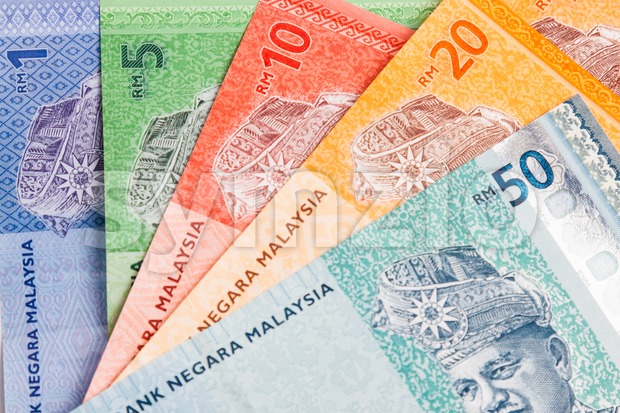 Closeup of Malaysia Ringgit currency notes