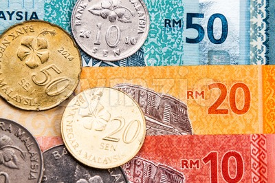 Closeup of Malaysia Ringgit currency notes and coins Stock Photo