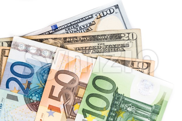 Close up on Euro against US Dollar currency notes Stock Photo