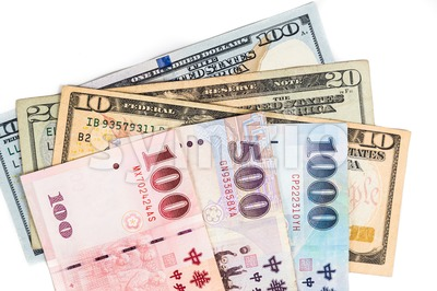 Close up of New Taiwan currency note against US Dollar Stock Photo