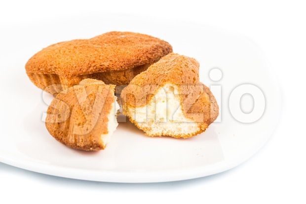 Kuih bahulu, a popular traditional Malay sweet sponge bun Stock Photo