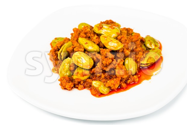 Sambal tumis petai, a popular traditional dish in Malaysia and Indonesia Stock Photo