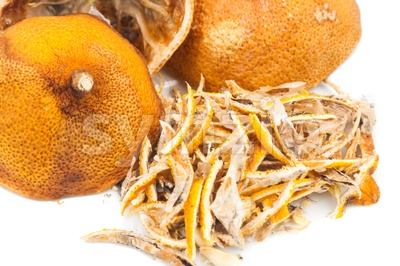 Closeup of dried lemon citrus peel Stock Photo
